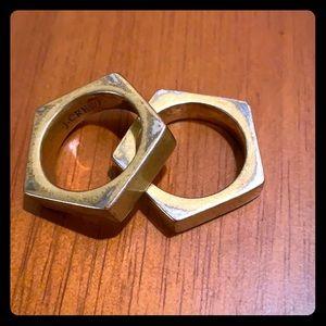 J crew gold ring set